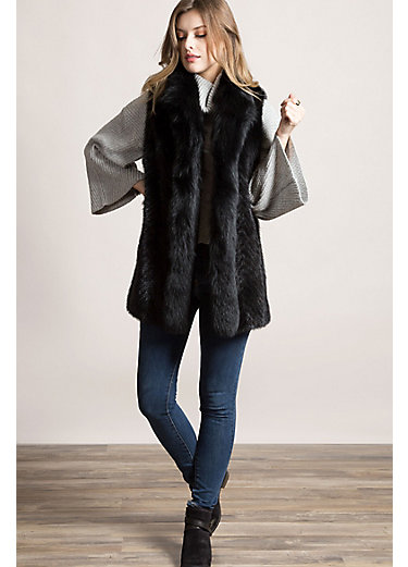 Elsa Mink Fur Vest with Fox Fur Trim