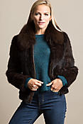 Calliana Knitted Danish Mink Fur Jacket with Fox Fur Collar