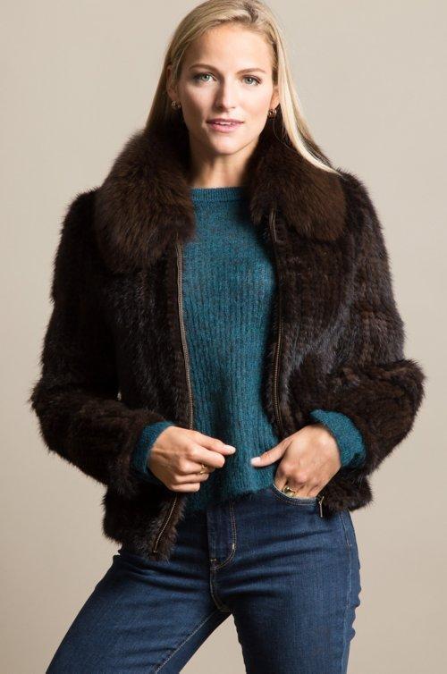 Calliana Knitted Danish Mink Fur Jacket with Fox Fur Collar