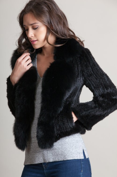Annabelle Danish Knitted Mink Fur Jacket with Fox Fur Trim