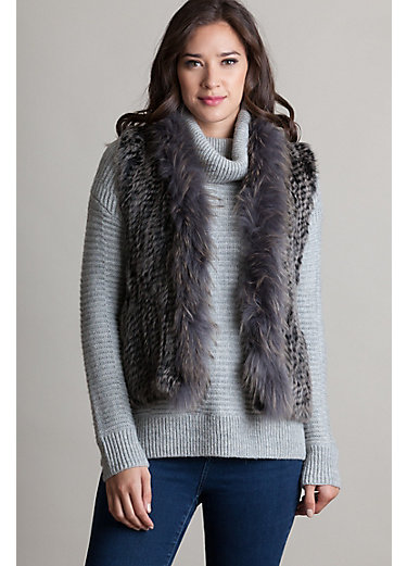 Rachel Knitted Rex Rabbit Fur Vest with Raccoon Fur Trim