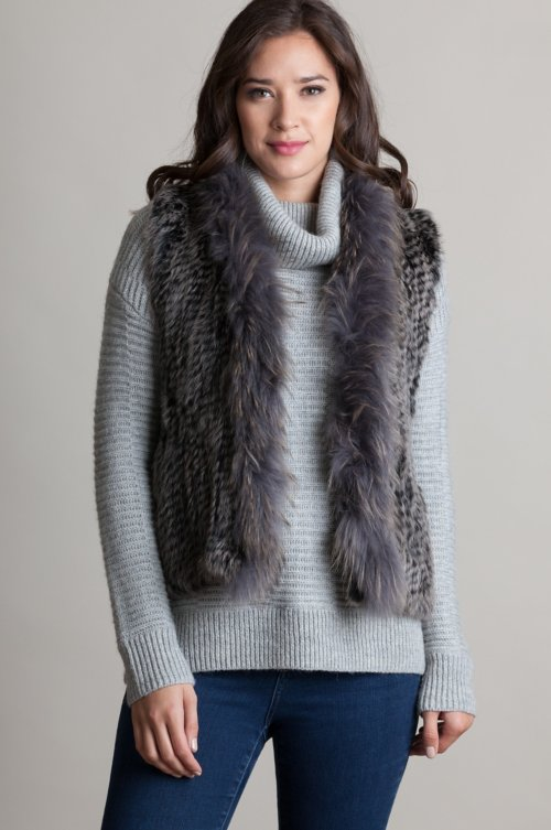Rachel Knitted Rex Rabbit Fur Vest with Raccoon Fur Trim