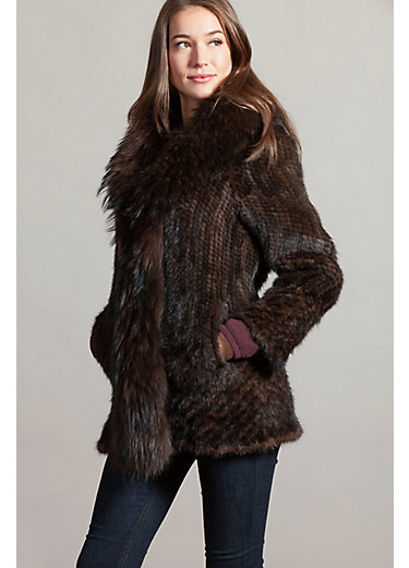 Ruby Knitted Mink Fur Jacket with Raccoon Fur Trim