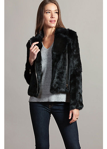 Robin Rabbit Fur Moto Jacket