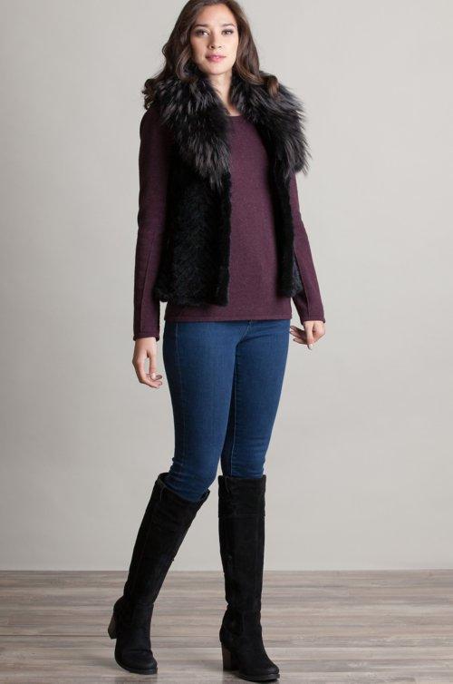 Renee Danish Knitted Mink Fur Vest with Raccoon Fur Collar