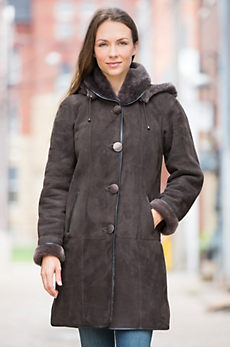 Yolanda Hooded Shearling Sheepskin Coat with Lambskin Leather Trim