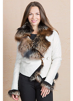 Celestine Leather Jacket with Fox Fur Trim