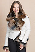 Celestine Lambskin Leather Jacket with Fox Fur Trim