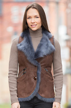 Caressa Shearling Sheepskin Vest with Toscana Trim