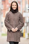 Brianna Lambskin Leather Coat with Rex Rabbit Fur Collar