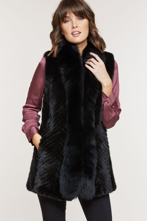 Elsa Mink Fur Vest with Fox Fur Trim