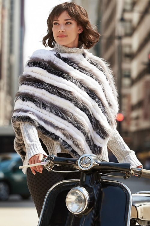 Layla Knitted Rex Rabbit and Fox Fur Poncho