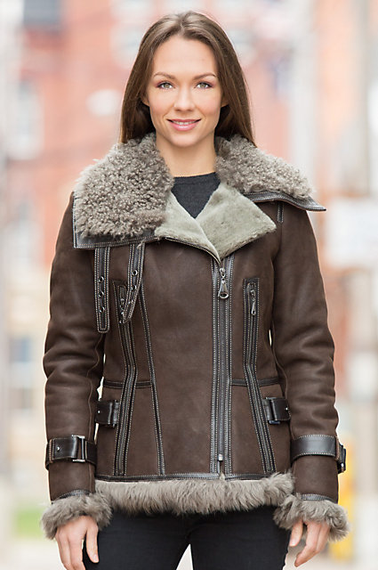Marlo Shearling Sheepskin Bomber Jacket with Curly Lamb Fur Trim ...
