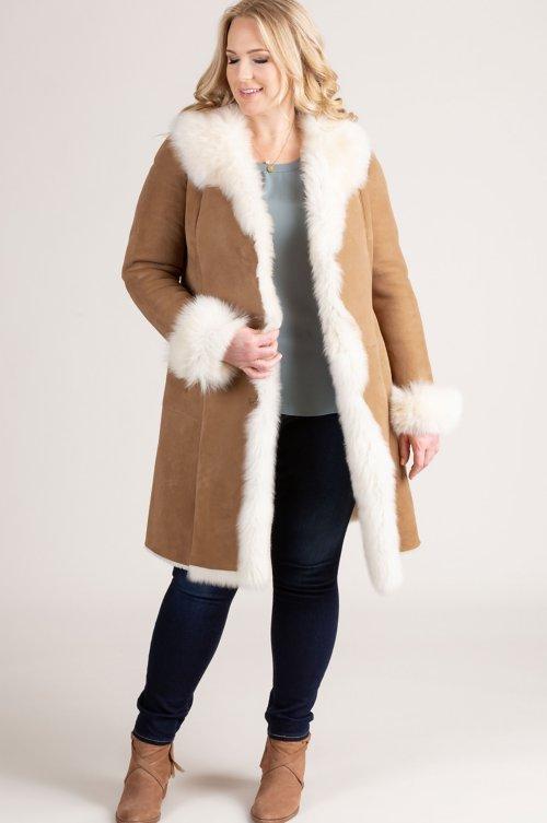 12f0a17ef51 Sandra Shearling Sheepskin Coat with Toscana Trim