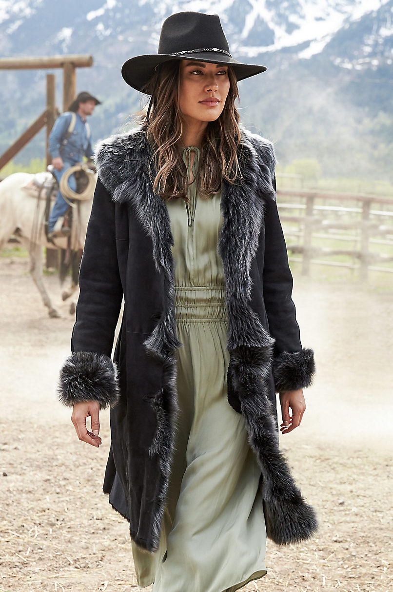 Sandra Shearling Sheepskin Coat with Toscana Trim