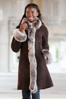 Chantal Reversible Sheepskin Coat with Silver Fox Fur Trim
