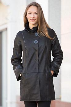 Josephine Shearling Sheepskin Coat with Danish Mink Fur Collar