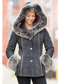 Irma Shearling Sheepskin Jacket with Fox Fur Trim