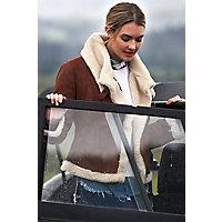 Vintage Coats & Jackets | Retro Coats and Jackets Tiffany Asymmetric Sheepskin Bomber Jacket $695.00 AT vintagedancer.com