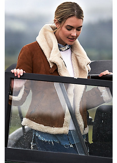 Tiffany Asymmetric Sheepskin Bomber Jacket