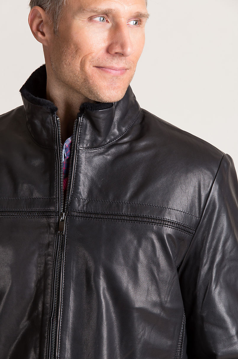 Justin Italian Lambskin Leather Jacket with Shearling Lining
