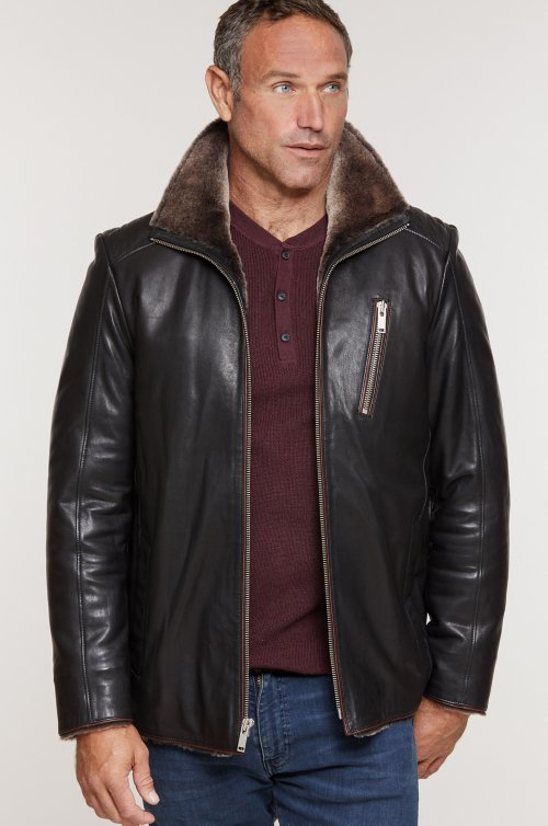 Leo Italian Lambskin Leather Moto Jacket with Shearling Lining