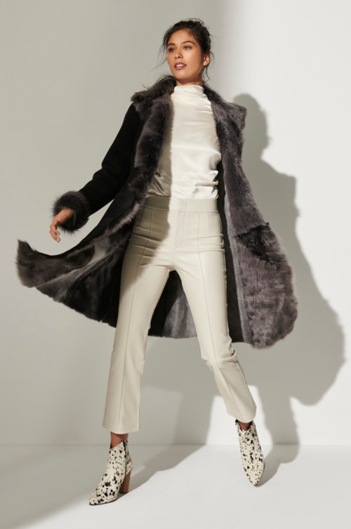 Sandra Shearling Sheepskin Coat with Toscana Trim-Plus (18-24)