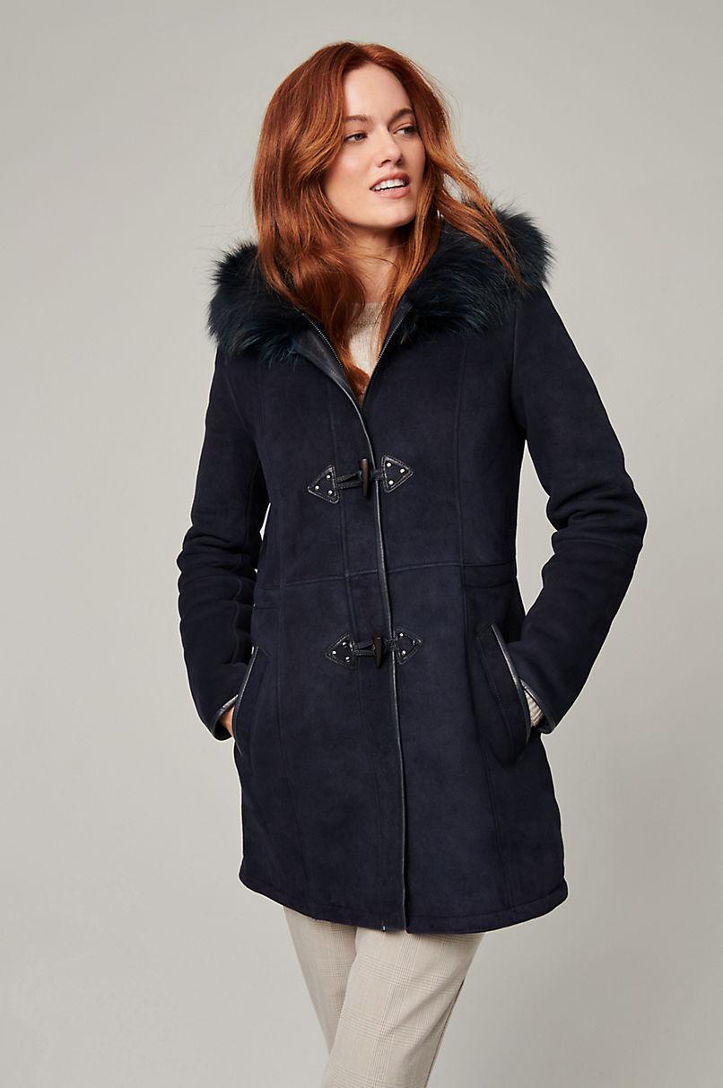 Delano Spanish Shearling Sheepskin Jacket with Finnish Raccoon Fur Trim