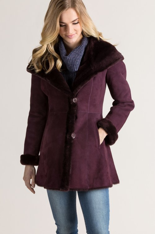 Margaret Hooded Spanish Shearling Sheepskin Jacket