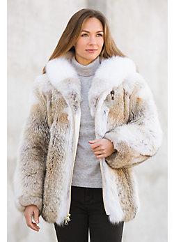 Yana Coyote Fur Coat with Fox Fur Trim