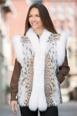 Leah Lynx Fur Vest with Fox Fur Trim