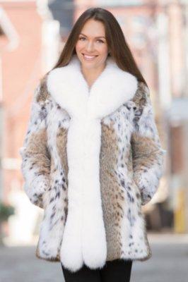 Amara Lynx Fur Jacket with Fox Fur Trim