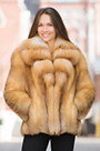 Camellia Red Fox Fur Jacket with Gold Fox Fur Collar