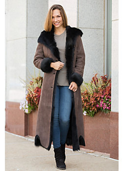 Cordelia Shearling Sheepskin Coat with Toscana Trim