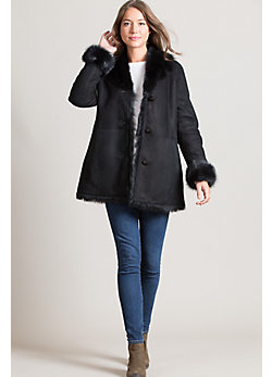 Clementine Shearling Sheepskin Coat with Toscana Trim