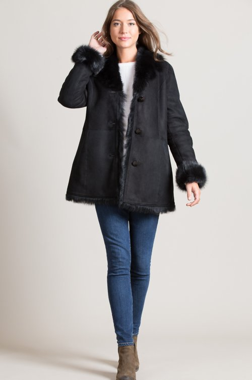 Sybil Shearling Sheepskin Coat with Toscana Trim