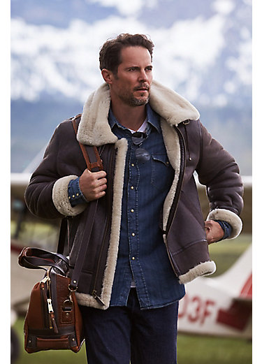 Richard Sheepskin B-3 Bomber Jacket with Detachable Hood