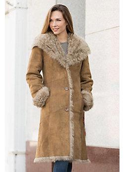 Daizy Sheepskin Coat with Curly Tigrado Fur Trim