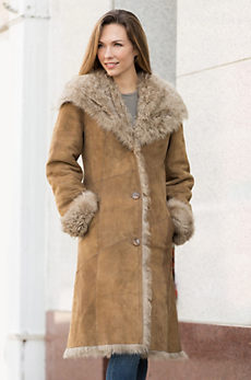 Daizy Sheepskin Coat with Curly Tigrado Fur Trim