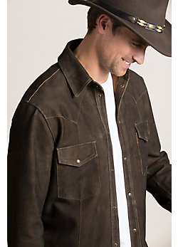Shane Goatskin Suede Leather Western Shirt Jacket