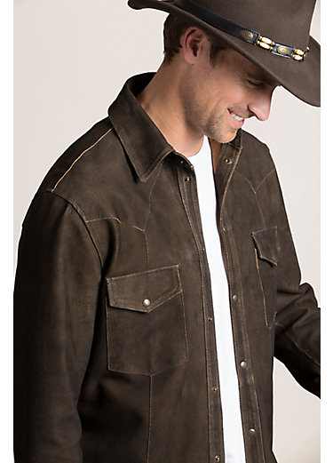 Shane Goatskin Suede Leather Western Shirt Jacket