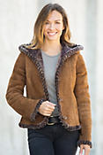 Jaxie Hooded Spanish Shearling Sheepskin Jacket