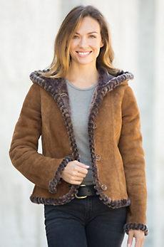 Jaxie Hooded Spanish Shearling Sheepskin Jacket