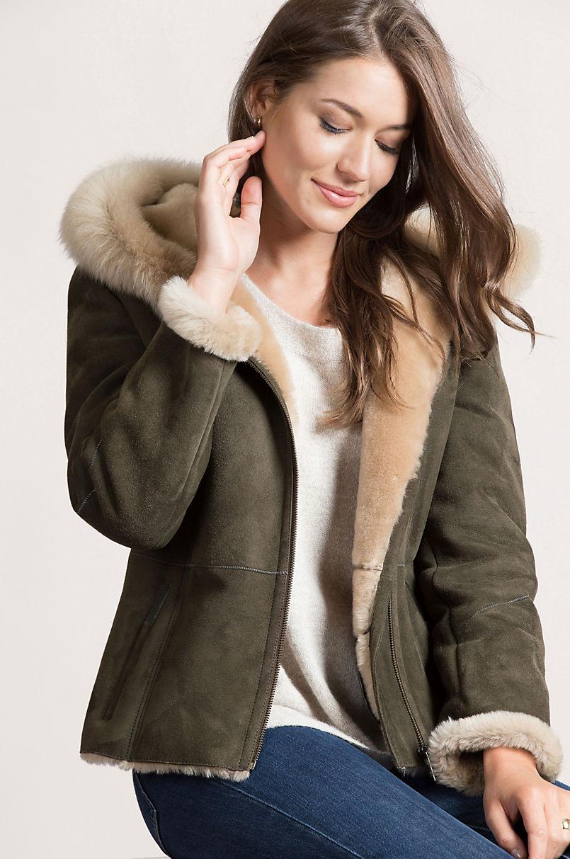 Bristol Hooded Shearling Sheepskin Jacket with Toscana Trim