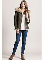 Bristol Hooded Shearling Sheepskin Jacket with Toscana Trim