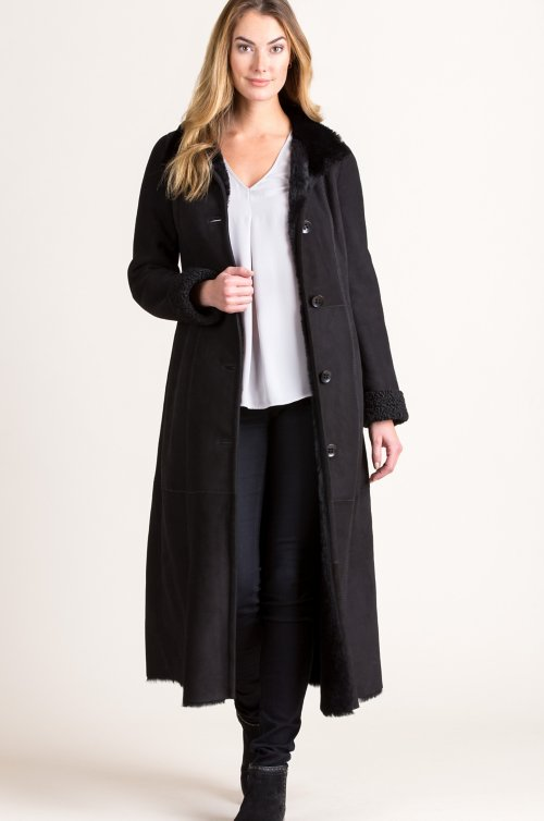 Helena Shearling Sheepskin Coat with Persian Lamb Fur Trim