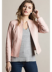 Peony Etched Lambskin Leather Jacket