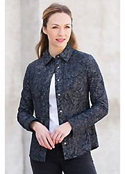 Maisie Printed Lambskin Suede Leather Shirt Jacket