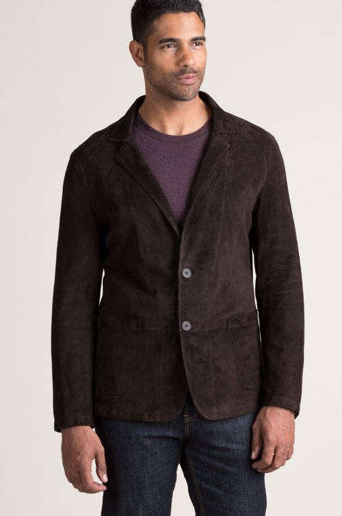 Zane Lambskin Suede Leather Blazer