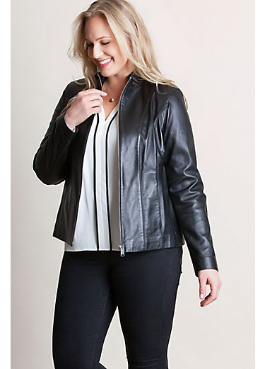 Greenwich Lambskin Leather Jacket – Plus (18-24)